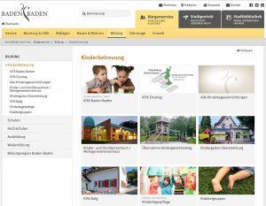 Screenshot der Webeite www.kita.baden-baden.de